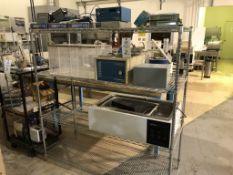 Bakers rack, WR Scientific Model 1230, Precision Scientific Stainless Steel Water Bath Model 186,