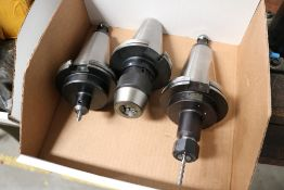 (3) Various CAT 50 Tool Holders, Side Lock, Jacob Chuck Style and Collet Style