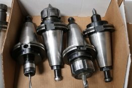 (4) Various CAT 50 Tool Holders, Collet Style, Tapping Head and Side Lock