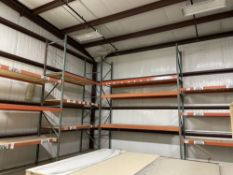 Lot of Pallet Racking. Equipped with 16' uprights, 3 sections of 8' cross beams and 1 section of 12'