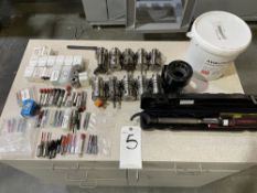 Lot of CNC Router Tooling and Cabinet. Includes HSK 63F tool holders, router bits, tool holder
