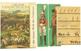 Konvolut von 3 Büchern, Landschlachten/Uniformen