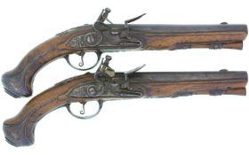 Steinschloss-Reisepistolen-Paar, Kal. 14mm