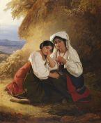 August Riedel - Zwei Mädchen in Albaner Tracht - Öl auf Leinwand - 1838