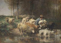 Heinrich von Zügel - Schäfer mit Herde am Wasser - Öl auf Leinwand - 1884