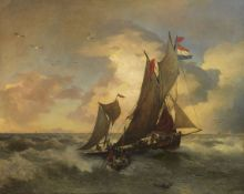 Andreas Achenbach - Auf stürmischer See - Öl auf Leinwand - 1894