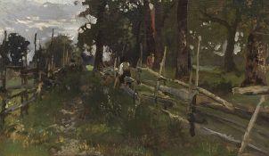 Josef Wenglein - Bauernbub, am Gatter sitzend - Öl auf Leinwand - 1887