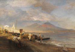 Oswald Achenbach - Die Bucht von Neapel mit Blick auf den Vesuv - Öl auf Leinwand - 1881