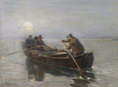 Joseph Wopfner - Fischer bei Mondschein - Öl auf Leinwand - 1915