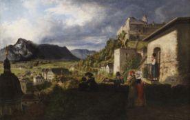 Deutschland - Blick auf Hohensalzburg, Erhardkirche und den Untersberg - Öl auf Leinwand - 1820