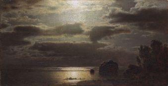 Louis Douzette - Mondnacht - Öl auf Leinwand - 1872
