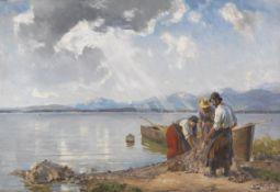 Joseph Wopfner - Fischer am Chiemseeufer - Öl auf Leinwand - 1905