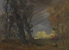 Wilhelm Busch - Waldrand mit sonnenbeschienener Baumgruppe - Öl - 1880
