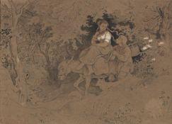 Adrian Ludwig Richter - Im Walde - Aquarell - 1864