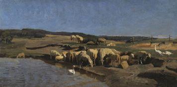 Johann Baptist Hofner - Oberbayerische Landschaft mit Schafen an der Tränke - Öl - 1870