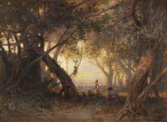 Arthur Calame - Sous les oliviers, le soir à San Remo - Öl auf Malpappe - 1868