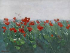 Karl Hagemeister - Roter Mohn am Seeufer - Öl auf Leinwand - 1905