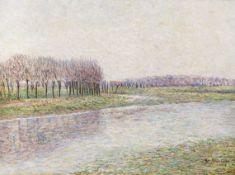 Paul Baum - Flusslandschaft mit Weiden - Öl auf Leinwand - 1896