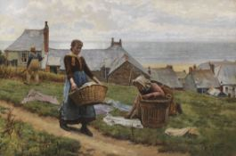 William Henry Bartlett - A bad wind for fish, but a good one for drying - Öl auf Leinwand - 1884