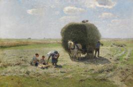 Hugo Mühlig - Sommerliche Heuernte - Öl auf Leinwand - 1911