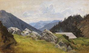 Eduard Schleich d. Ä. - Gebirgslandschaft - Öl auf Papier - 1845