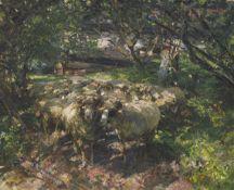 Heinrich von Zügel - Schafherde im Obstgarten - Öl auf Leinwand - 1925
