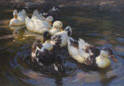 Alexander Koester - Enten in Morgensonne (Enten in blauem Wasser) - Öl auf Leinwand - 1904