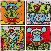 Keith Haring - Andy Mouse (4 Blatt) - Farbserigrafie - 1986