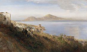 Oswald Achenbach - Malerin mit Blick auf Capri - Öl auf Leinwand - 1880