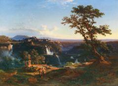 Johann Jakob Frey - Die Kaskaden von Tivoli in der Abendsonne - Öl auf Leinwand - 1861