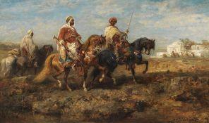 Adolf Schreyer - Beduinenreiter - Öl auf Leinwand - 1870
