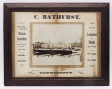 Advertising ephemera, C Bathurst, Tewkesbury, Steam Launches for Large of Small Parties