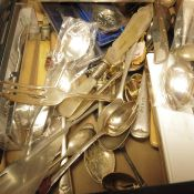 Souvenir spoons, silver plated cutlery and candle