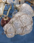 A caged glass hanging lantern ogee diamond pressed