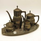 An Aesthetic style four piece silver plated tea se