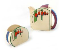 Clarice Cliff for Newport Pottery, a Solomon's Seal Stamford teapot and sugar pot