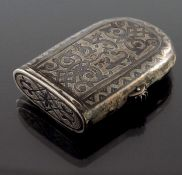 An Imperial Russian silver and niello combination vesta case tinder box