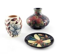 Sally Tuffin for Moorcroft, Finch and Fruit vase, 1996
