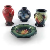 William Moorcroft, a small Leaf and Berry vase and ashtray