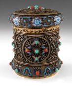 A Chinese silver gilt, filigree, enamelled and stone set tea caddy
