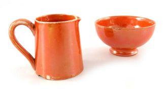 William Moorcroft, a miniature orange lustre bowl and jug