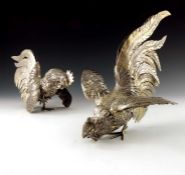 A pair of Italian silver gilt cockerel figures