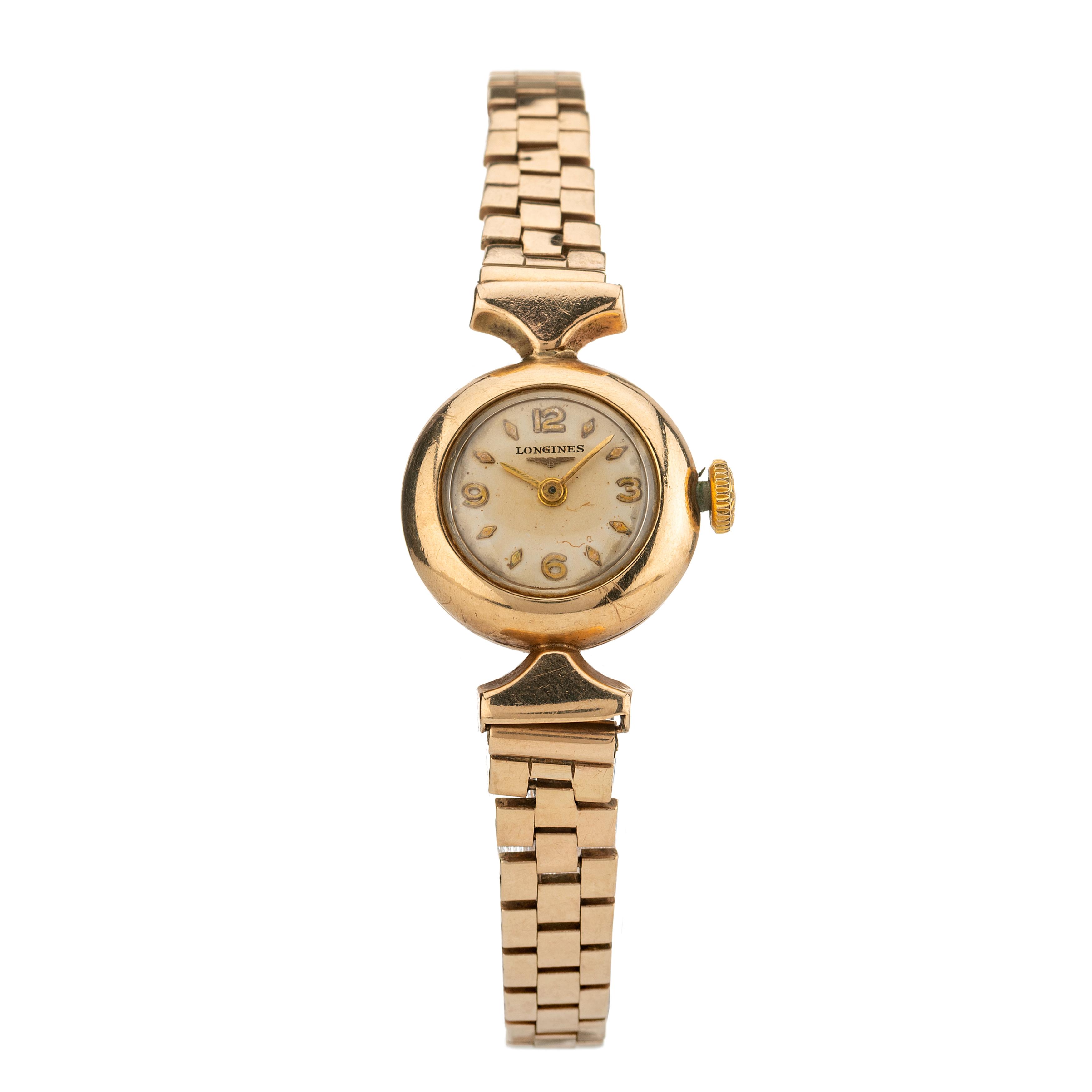 Longines, a mid 20th century 9ct gold bracelet watch
