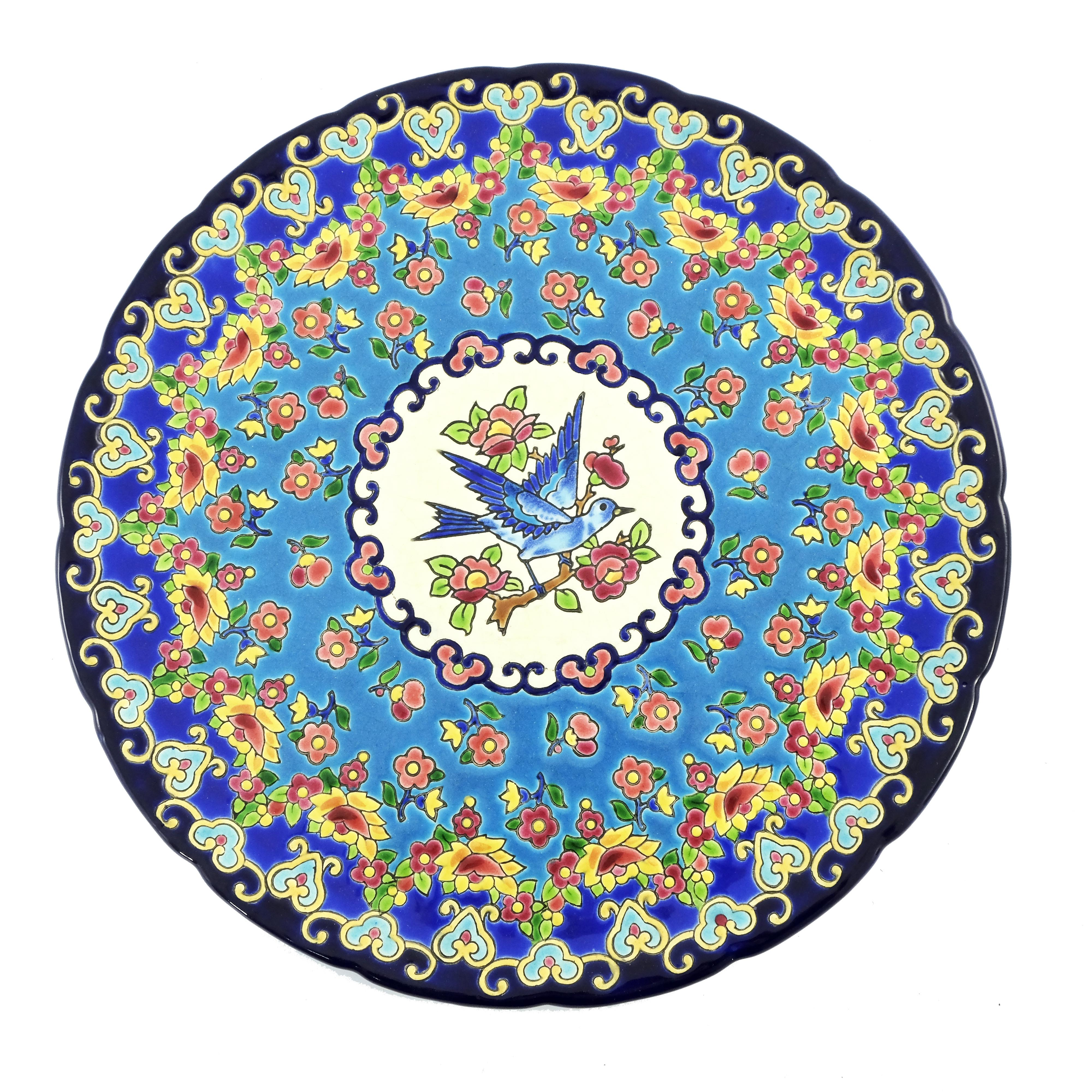 Longwy, an art pottery cloisonne charger