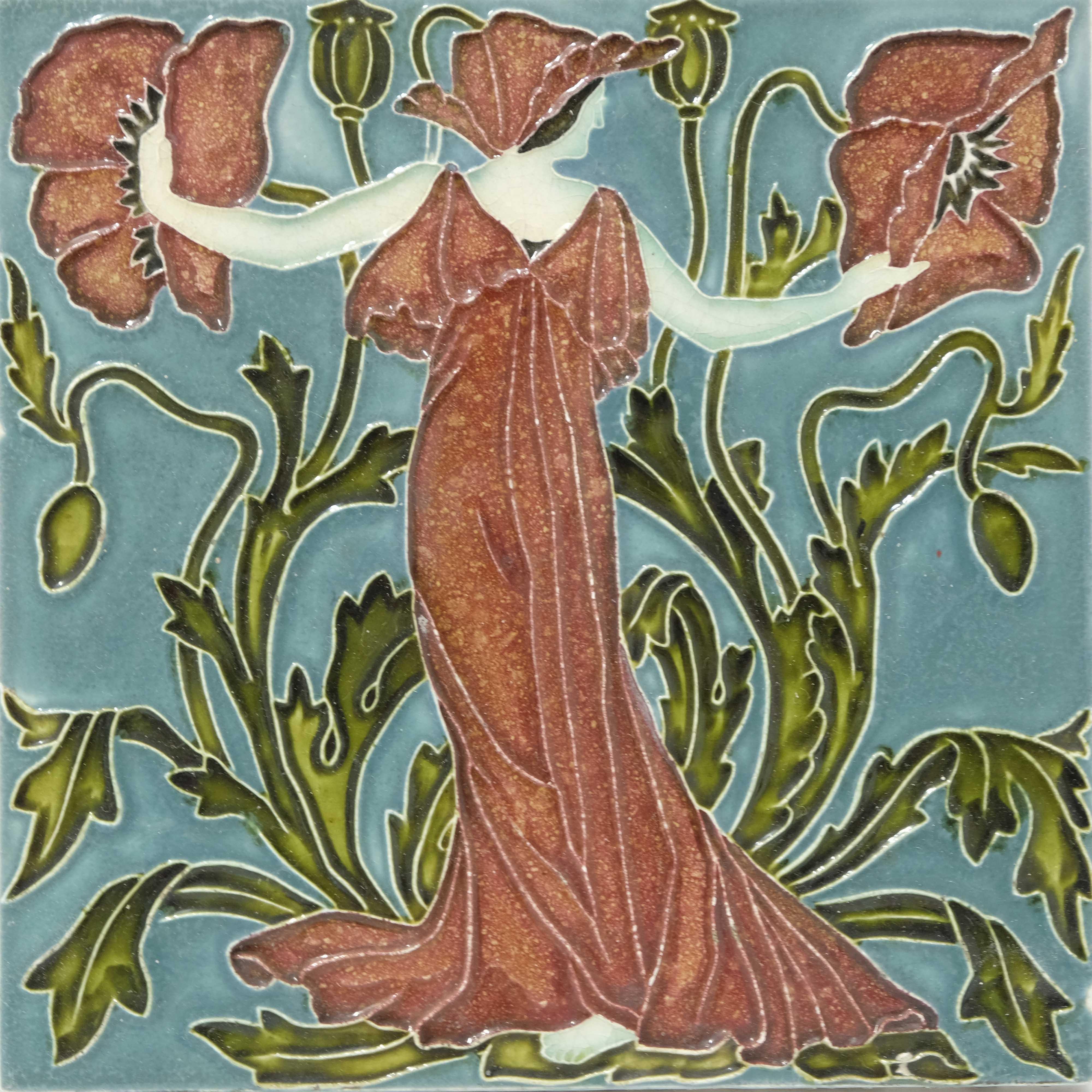 Walter Crane for Pilkington, a set of five Flora's - Image 2 of 6