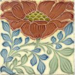 Lewis F Day for Pilkington, a set of six poppy til