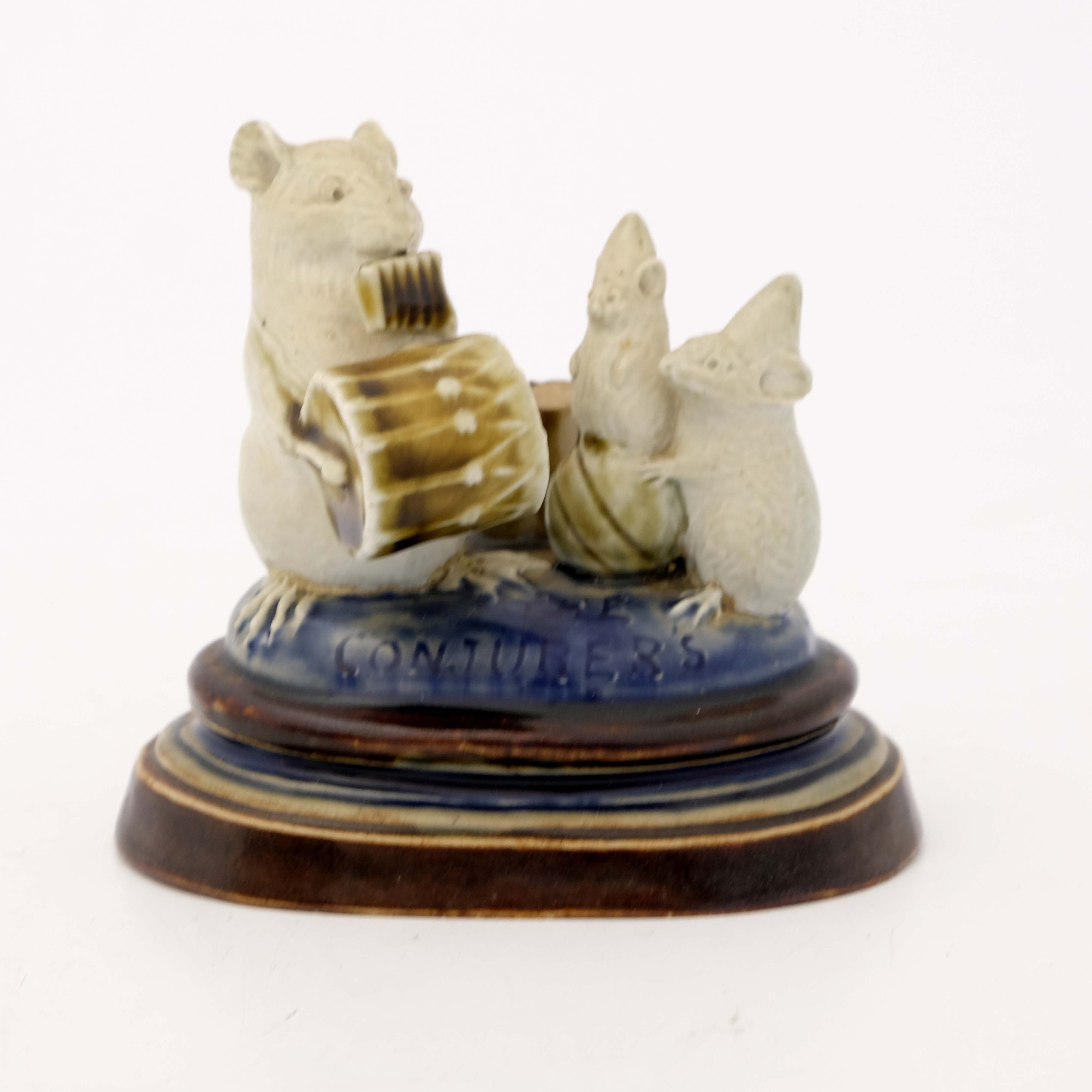 George Tinworth for Doulton Lambeth, a mouse figur - Image 2 of 4