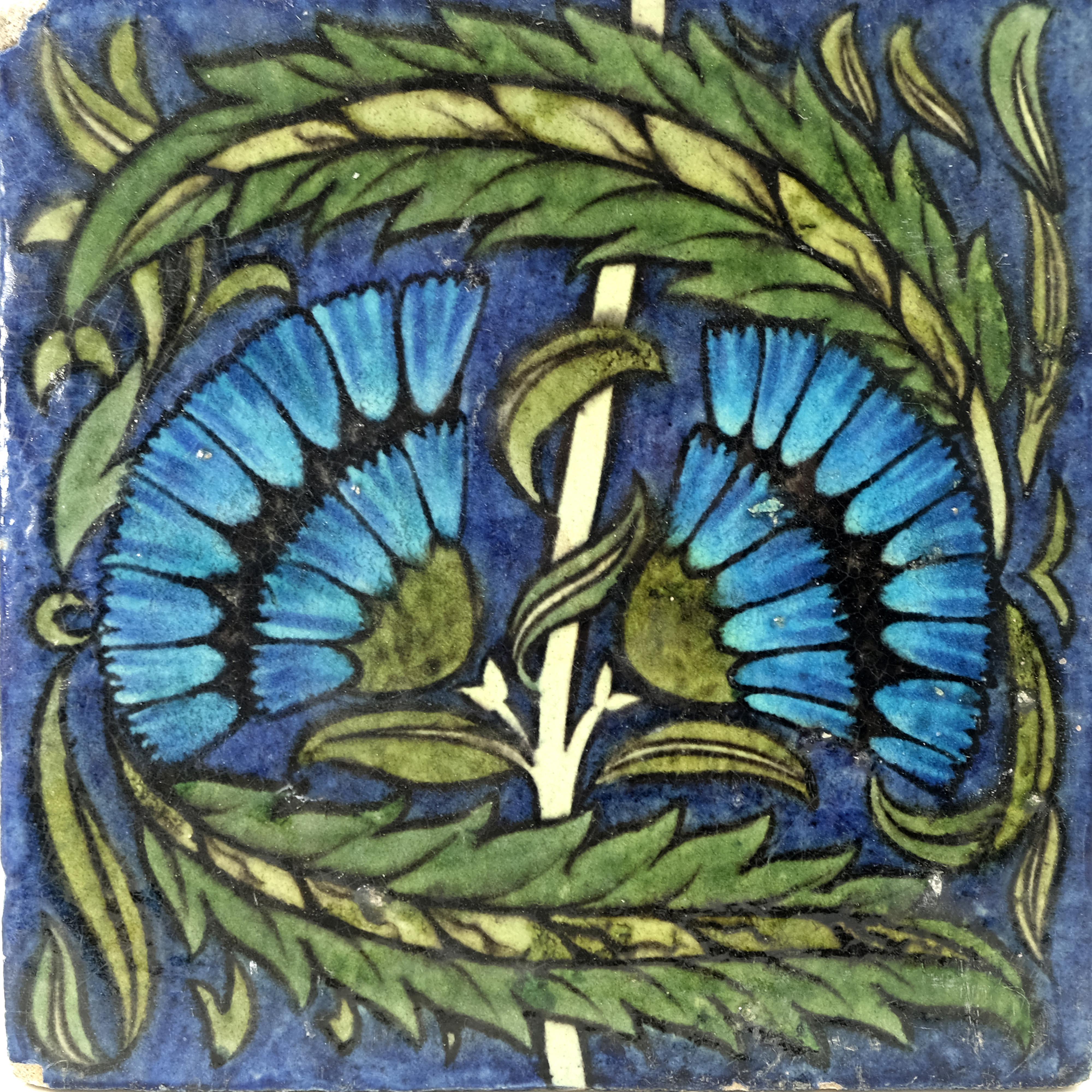 William De Morgan, a large Fan tile