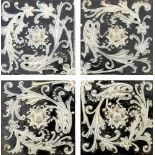 Martin Brothers, a stoneware four tile panel