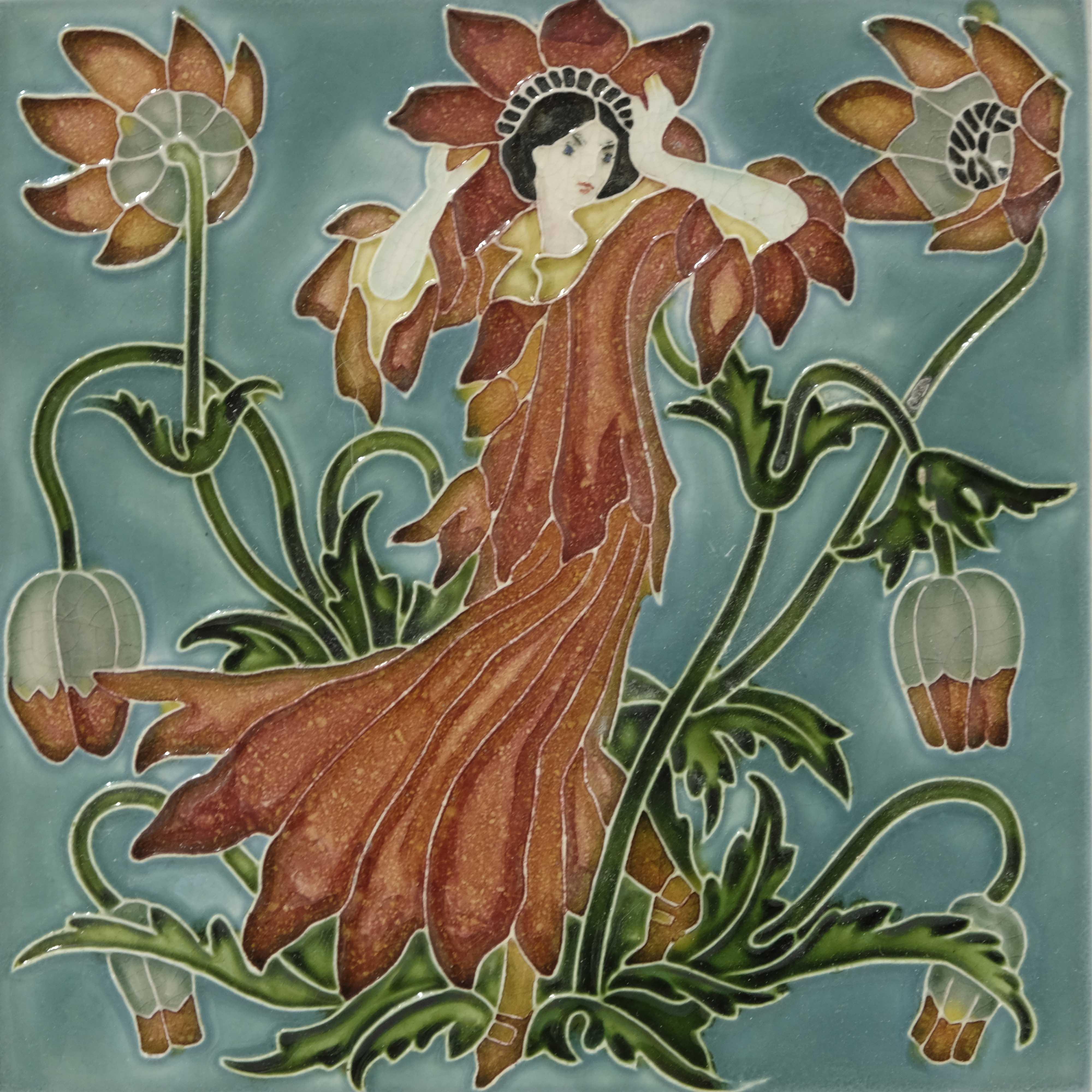 Walter Crane for Pilkington, a set of five Flora's - Image 4 of 6